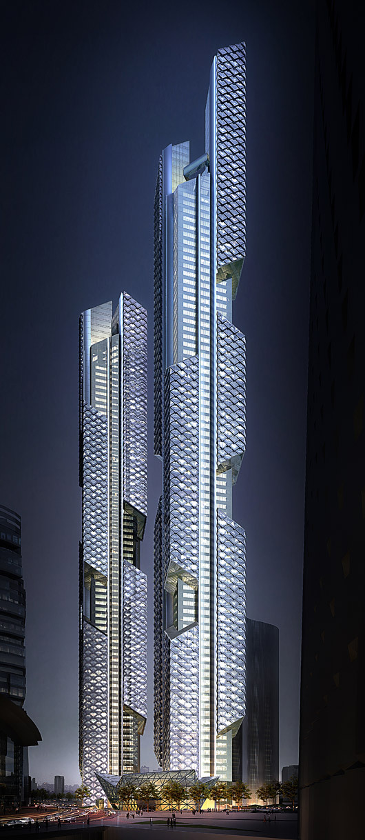 Tower 1 and Tower 2 at night (Image: Adrian Smith + Gordon Gill Architecture)