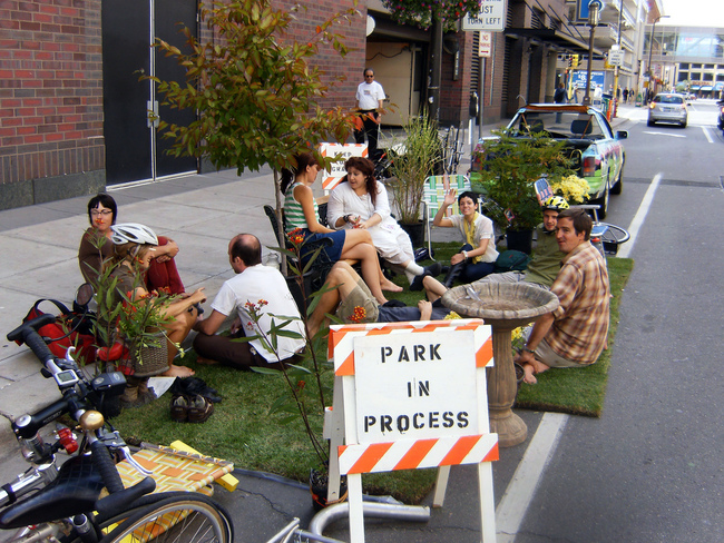 Parking day participants at State College in 2011.
