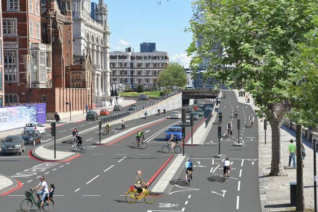 "Rendering of what was just announced to become ""Europe's longest segregated urban cycle lane through central London."" (Image via standard.co.uk)"