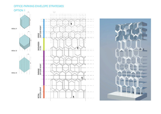 Concept diagram, office/parking envelope strategies (Image: UNStudio)