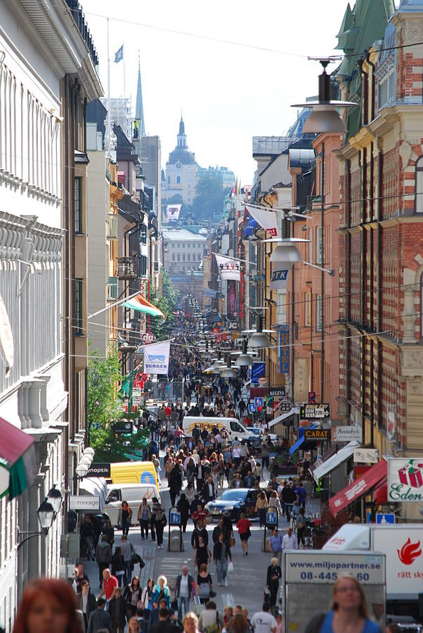 Stockholm's Drottninggatan pedestrian street. Photo by I99pema via Wikipedia.