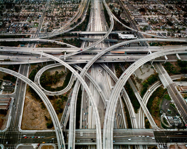 Highway interchange in Los Angeles. Photo by Edward Burtinsky, via darkroastblend.com.