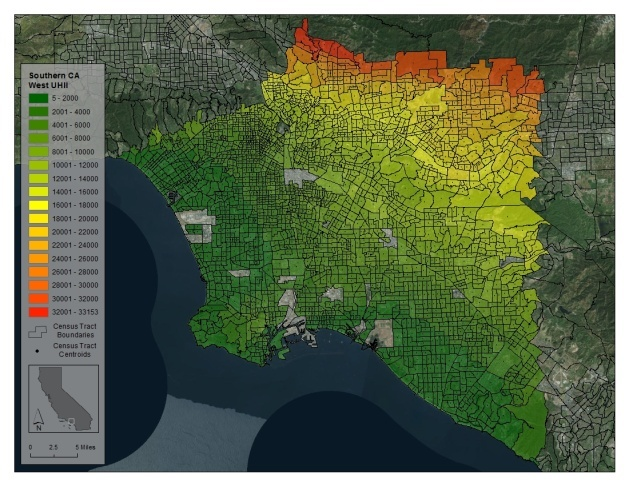 Urban heat island temperatures in the greater Los Angeles area. Image via CalEPA. Image via scpr.org.
