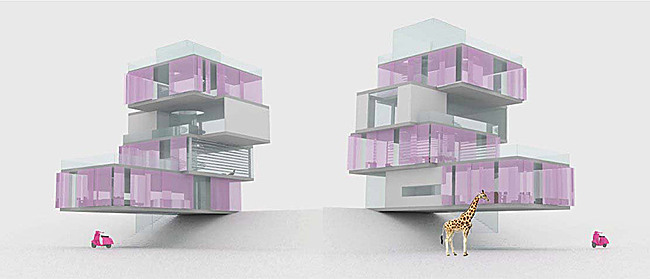 The winning design of the AIA Architect Barbie Dream House competition by NYC architects Ting Li and Maja Paklar