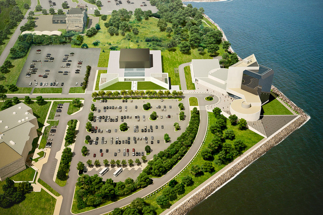 Aerial view rendering of the soon-to-open Edward M. Kennedy Institute for the United States Senate. Courtesy EMK Institute.