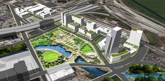 "Detail from the University of California - Berkeley's ""The Grand"" proposal for downtown Houston"