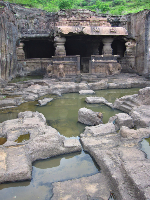 The Jain temple number 31s unfinished courtyard (Ellora) via amlocke.