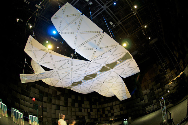 "Acoustic installation ""Manta"" at SmartGeometry 2012 conference (Photo: Michael Villardi)"