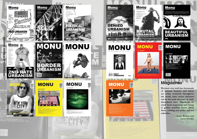 Spread of the WAIzine Featuring all of MONUs previous covers.