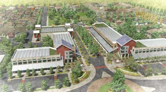 This new eco-friendly residential development in California's Central Valley expects to use less water than the orchards that used to be there. (Image via npr.org)