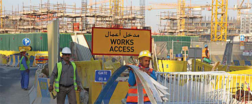 """Photo: Benjamin Crowe; via the International Trade Union Confederation's 2015 report """"Qatar: Profit and Loss. Counting the cost of modern day slavery in Qatar: What price freedom?"""""""