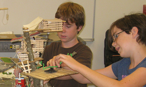 Campers design and build a model tree house. Courtesy of Carol Myers Flaute.