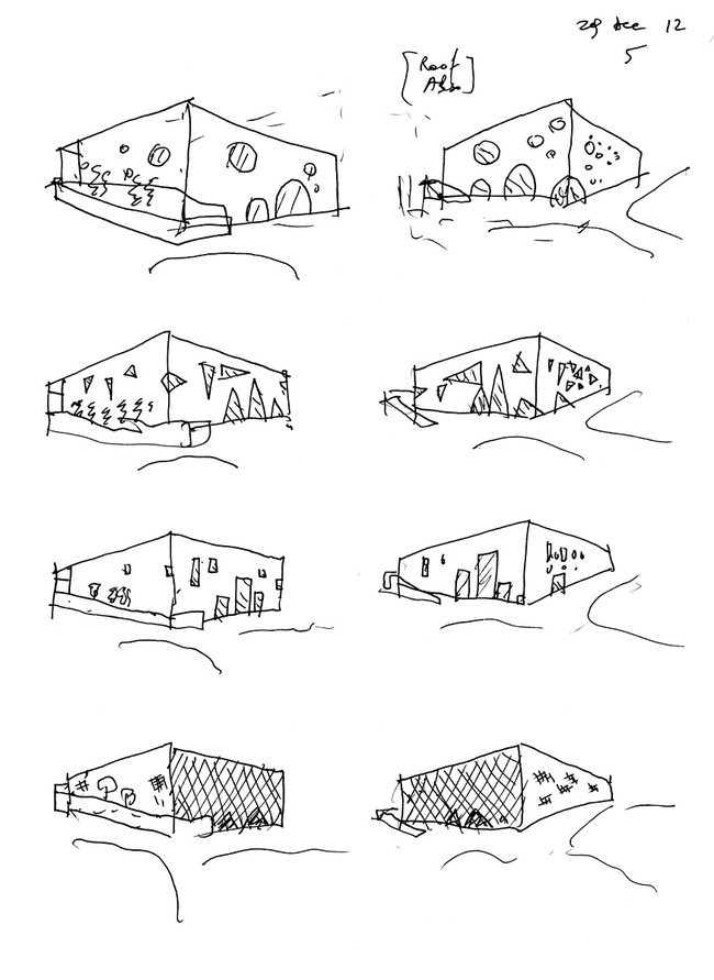 Bernard Tschumi Architects, ANIMA Cultural Center in Grottammare, Italy. Facade studies (sketch by Bernard Tschumi).