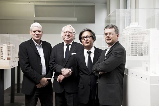 From left to right: Bernhard Karpf, Associate Partner; Richard Meier, Managing Partner; Dukho Yeon, Associate Partner; Reynolds Logan, Associate Partner - Copyright Silja Magg