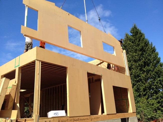 A prefab passive house under construction.