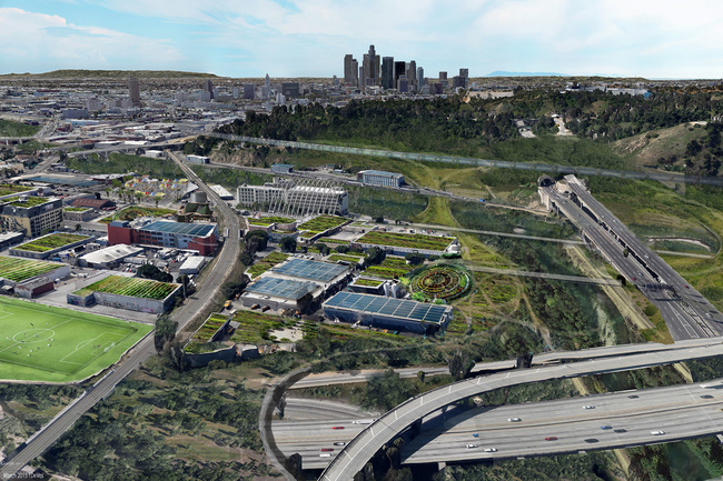 Rendering of the Arroyo Seco Masterplan for the Los Angeles World's Fair (LAWF)
