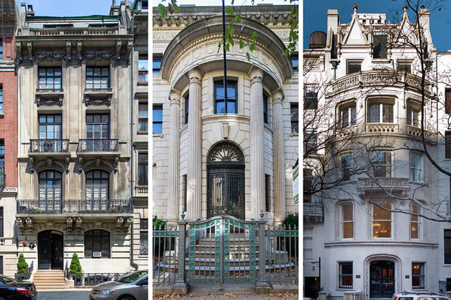 The Tracy Mansion at 105 Eighth Avenue in Brooklyn, center, can be yours for $13 million. The asking price for 57 East 64th Street, right, a 14,000-square-foot limestone giant designed by C.P.H. Gilbert, is $44 million. The Scribner Mansion at 39 East 67th Street, left, was just listed for $22.5 million - Left and Center: Fred R. Conrad/The New York Times; Right: Brown Harris Stevens