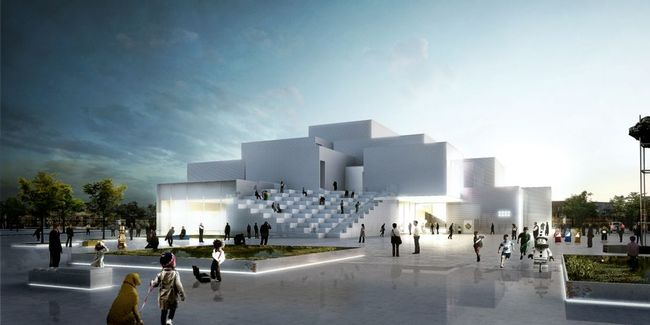 "The Lego House, scheduled to open in 2016, will be made from what the architect describes as a ""cloud of interlocking Lego bricks."" Image via slate.com, courtesy Lego Group"