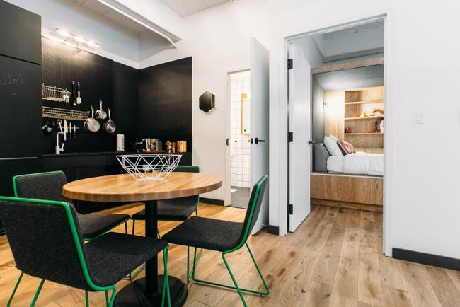 One of WeLive's one bedroom spaces in New York City. Image from WeLive, via time.com.