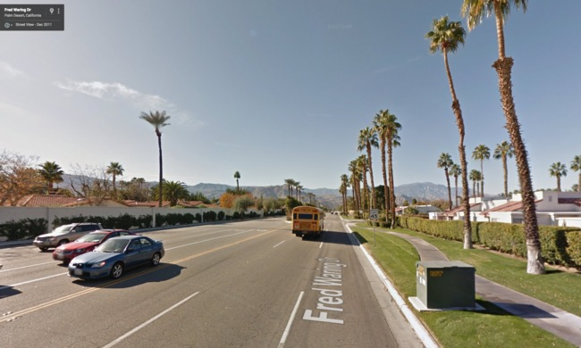 Google street view of Fred Waring Drive by Cook Street, facing west, in Indian Wells, CA – the approximate location of the crash that killed Weiss.