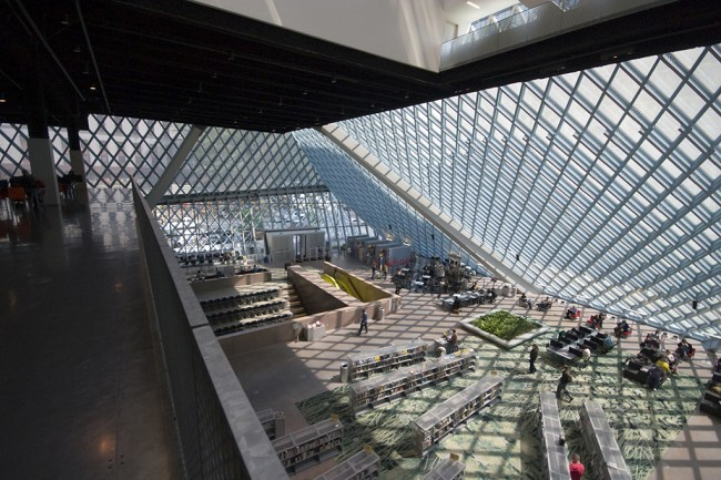 Seattle Public Library, designed by OMA | Photo by Ken Stein, via urbanomnibus.net