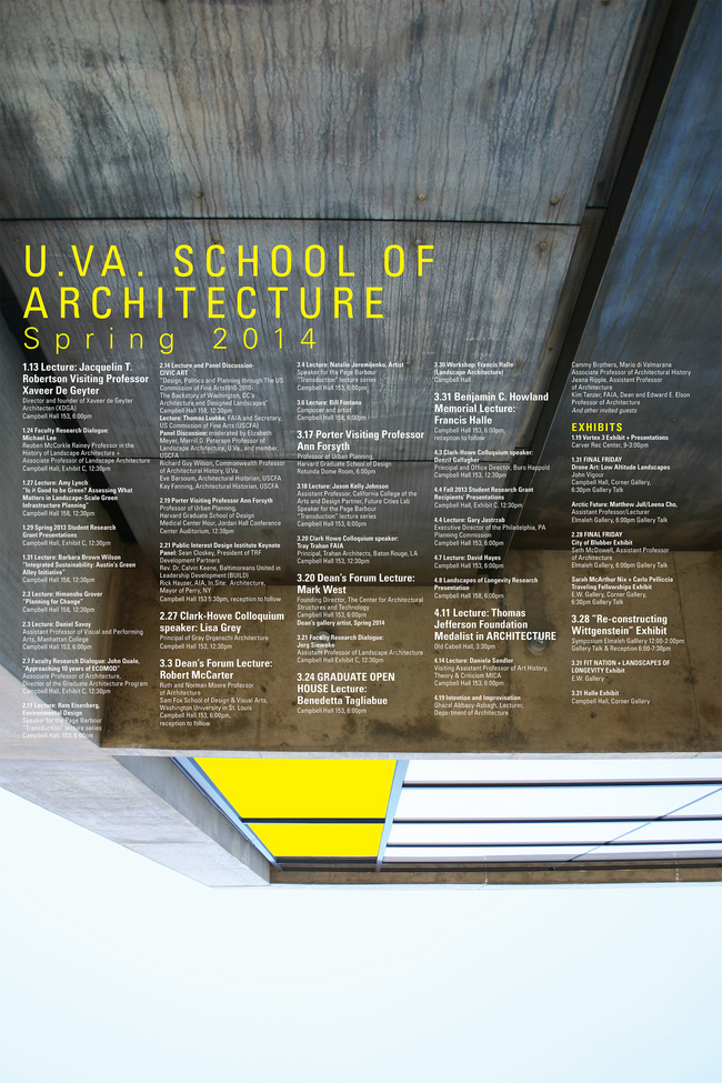 U.VA Spring '14 Lecture Events. Image courtesy of U.VA School of Architecture.