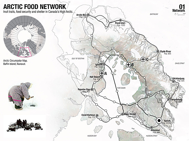 Holcim Gold Award: Regional food-gathering nodes and logistics network, Iqaluit, NU, Canada by Mason White, Lateral Office / InfraNet Lab, Toronto, ON, Canada in collaboration with Lola Sheppard and Fionn Byrne, Lateral Office / InfraNet Lab, Toronto, and Nikole Bouchard, Lateral Office / InfraNet...