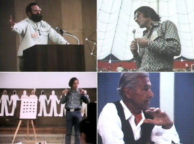 Speakers at Aspen, clockwise from top left: Reyner Banham, Craig Hodgetts, Herbert Bayer, and Sim Van der Ryn. FromIDCA 1970.