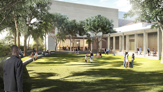 Illustration of the Pamela and Robert B. Goergen Sculpture Garden at the expanded Norton Museum of Art, designed by Foster + Partners. (Image courtesy of Foster + Partners)