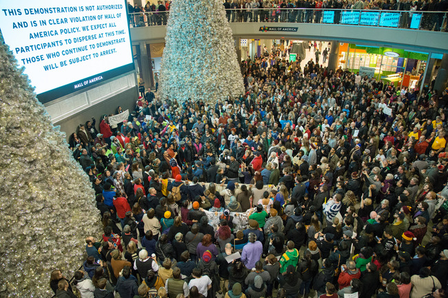 Black Lives Matters protesters at the Mall of America in 2014. Credit: Nicholas Upton via Flickr