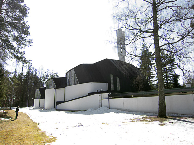 Exterior of Vuoksenniska Church (Church of 3 Crosses), Vuoksenniska, Finland 1958