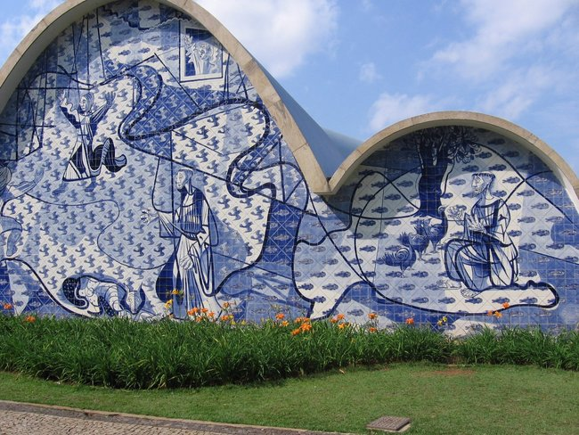 Oscar Niemeyer's Chapel of St Francis of Assisi Tiled Front