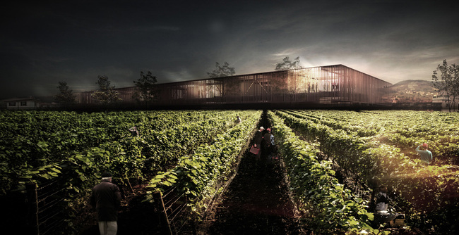 Results of the Wine Culture Centre Competition: Detail from the winning proposal by TEAM V