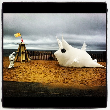 Sparky the Cowfish inflateable had a great day at the beach via Eva Lansberry