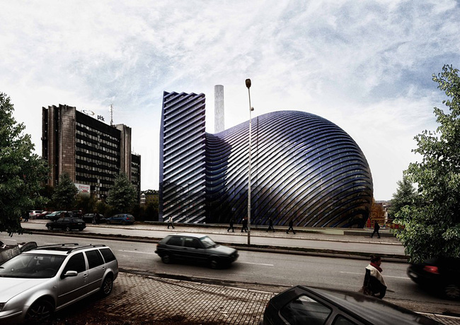 Street view of the Prishtina Central Mosque entry by Paolo Venturella, Angelo Balducci, Luca Ponsi, Paolo Gaeta (Image courtesy of the architects)