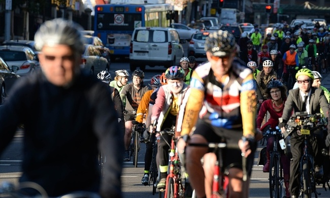 Cyclists protest the proposed closure of the College Street cycleway in Sydney, Australia. Photograph: City of Sydney, via The Guardian.