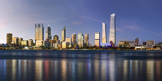 A picture of the proposed towers from the Perth River view. Image: Woods Bagot