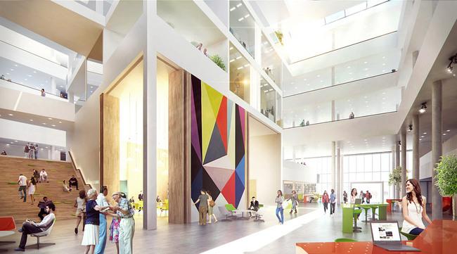 Rendering, town council hall (Illustration: Henning Larsen Architects)