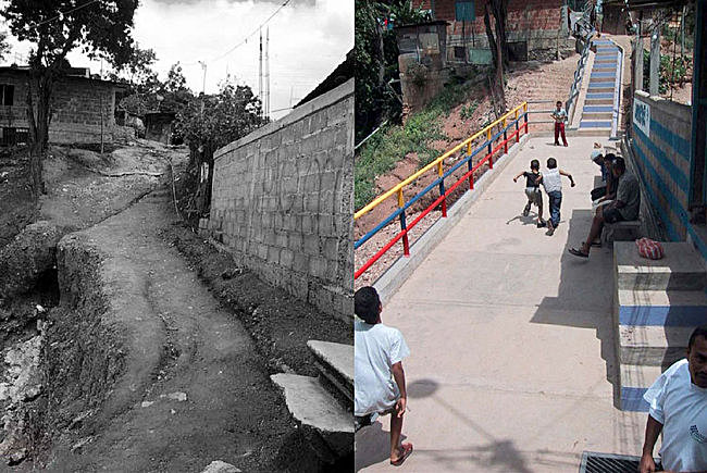 Images from before and after a stair upgrade in La Vega, Caracas, Venezuela.