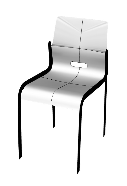 2. The digital Kari 3 chair in Rhinoceros 3D