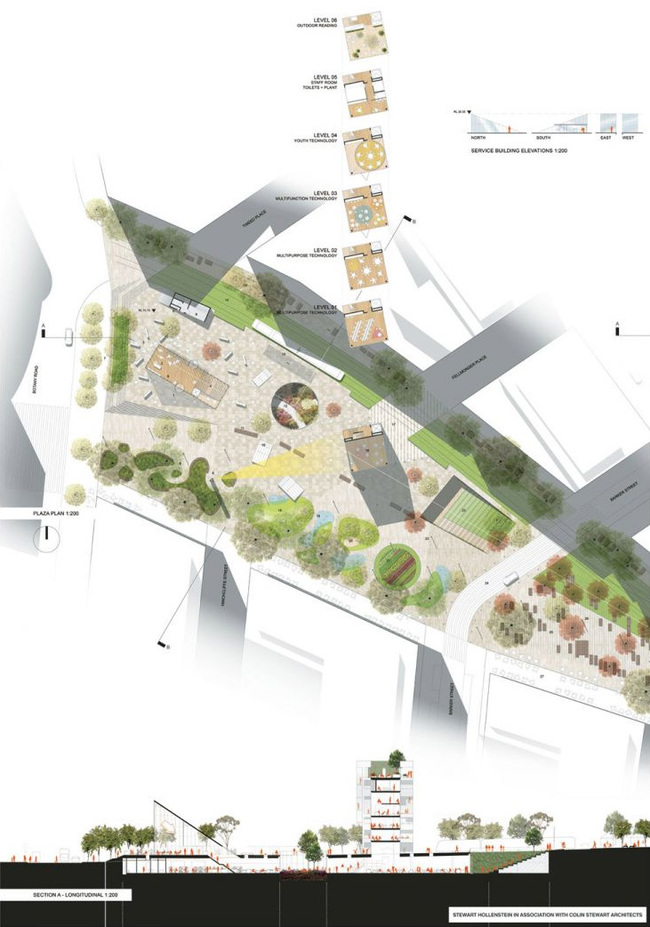 Plan of the winning entry by Stewart Hollenstein with Colin Stewart Architects (Image courtesy of City of Sydney)