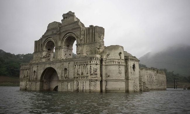 Abandoned because of a plague, this 16th century-era church has resurfaced above a reservoir in the Mexican state of Chiapas. Credit: David von Blohn/AP