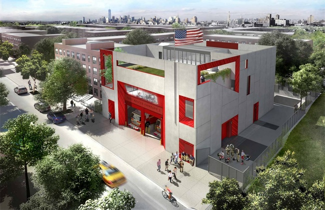 Jeanne Gang's Fire Rescue 2 in the Brownsville neighborhood of Brooklyn. Image: Studio Gang Architects