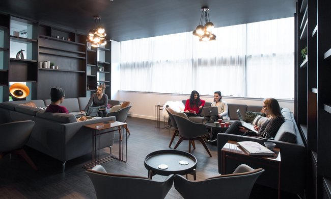 The Bo Concept-designed lounge in Glasgow's Clifton House student accommodation. Photograph: CRM Students. Image via theguardian.com.