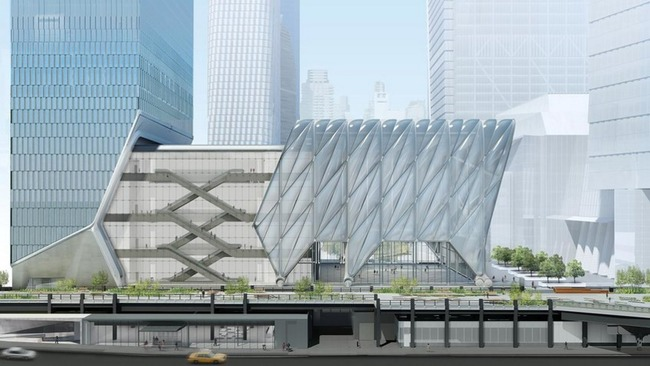 "Rendering of ""The Shed"" arts center, designed by Diller Scofidio + Renfro and the Rockwell Group. Image credit: Rockwell Group, via globalconstructionreview.com."