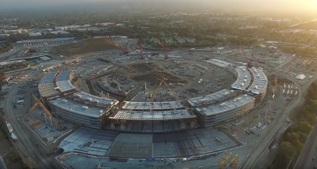 "Screenshot of Duncan Sinfield's drone footage showing the current status of the Apple ""spaceship"" campus. Image via YouTube."