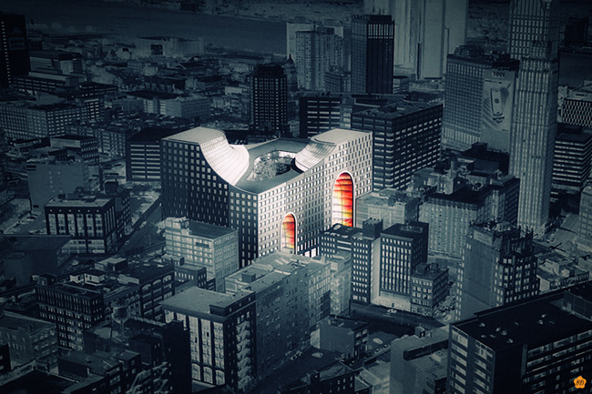 "Rendering of ""The Grand Opening"" proposal for the Redesigning Detroit: A New Vision for an Iconic Site competition"