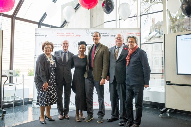 Phil Freelon (third from right) at the GSD's announcement. Photographer credit: Zara Tzanev