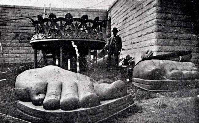 The feet of the Statue of Liberty in 1885. Credit: Universal History Archive—UIG via Getty Images via Time