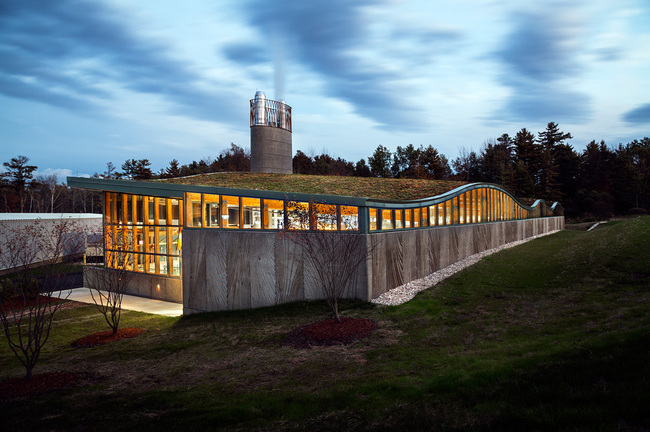 Green Building with Wood: Biomass Heating Plant, Hotchkiss School in Lakeville, CT. Architect - Centerbook Architects and Planners. Photo © David Sundberg/Esto